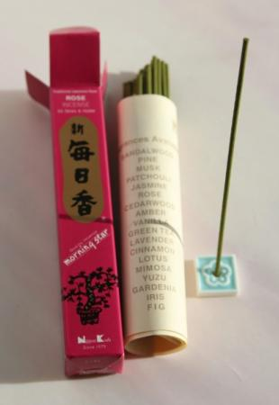 Morning Star Rose Incense | Box of 50 sticks & holder by Nippon Kodo