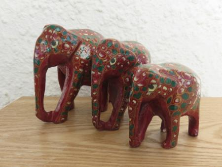 Dark Red and Green Kashmiri Elephant Family