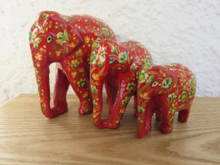 Red Floral (3) Themed Kashmiri Elephant Family