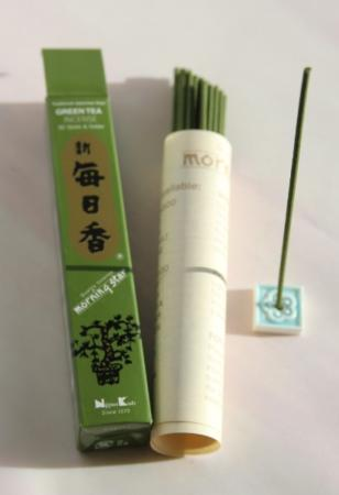 Morning Star Green Tea Incense | Box of 50 Sticks & Holder by Nippon Kodo