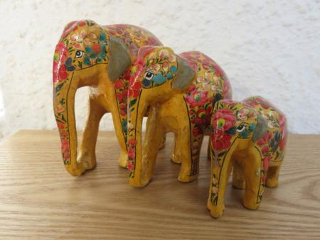 Mustard with Floral Themed Kashmiri Elephant Family