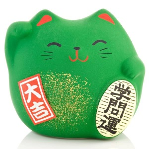 Japanese Lucky Cat | Feng Shui | Study | Small Green