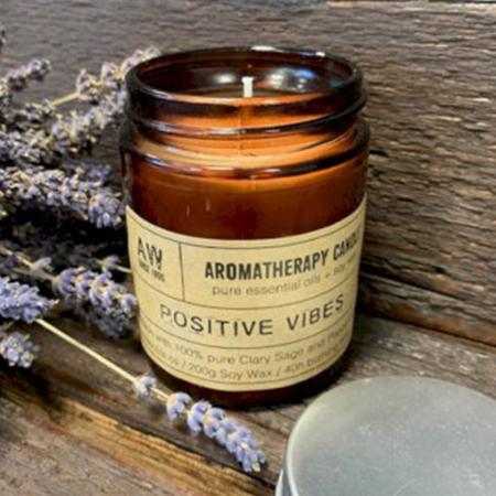 Aromatherapy Soy Wax Candle | Clary Sage and Peppermint (Positive Vibes) | Pure & Vegan